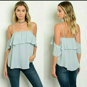 Sip N' Sparkle Tops - Dusty Blue Ruffle Chiffon Top